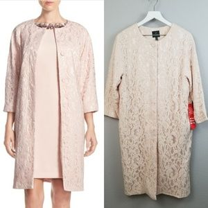 Adrianna Papel Pink Lace Duster Coat Size 12